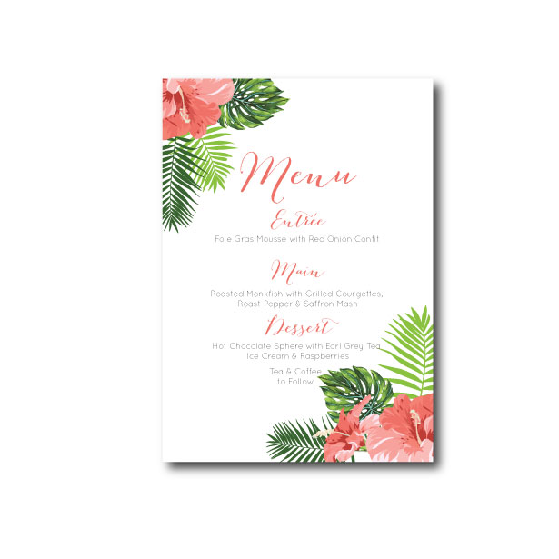 Hawaiian Tropical Menu - A6
