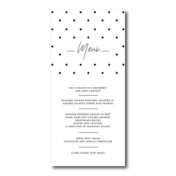 Speckle Wedding Menu - DL