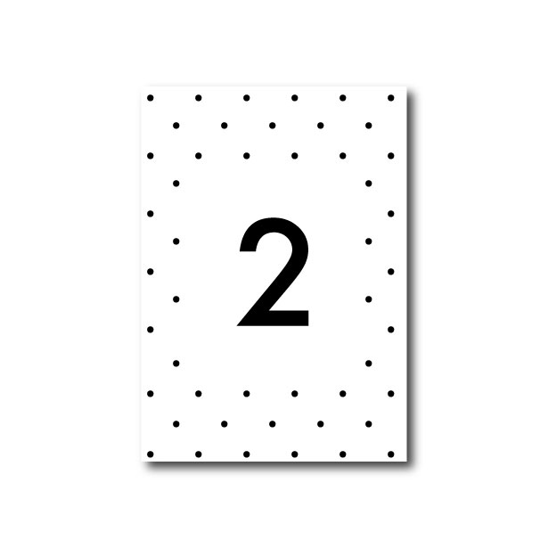 Speckle Wedding Table Number - A6