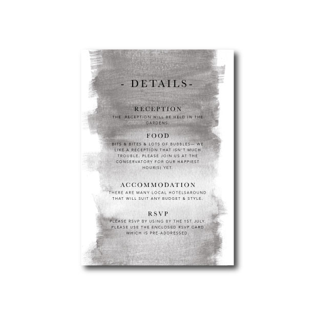 Watercolour Wash Wedding Information Card - A6