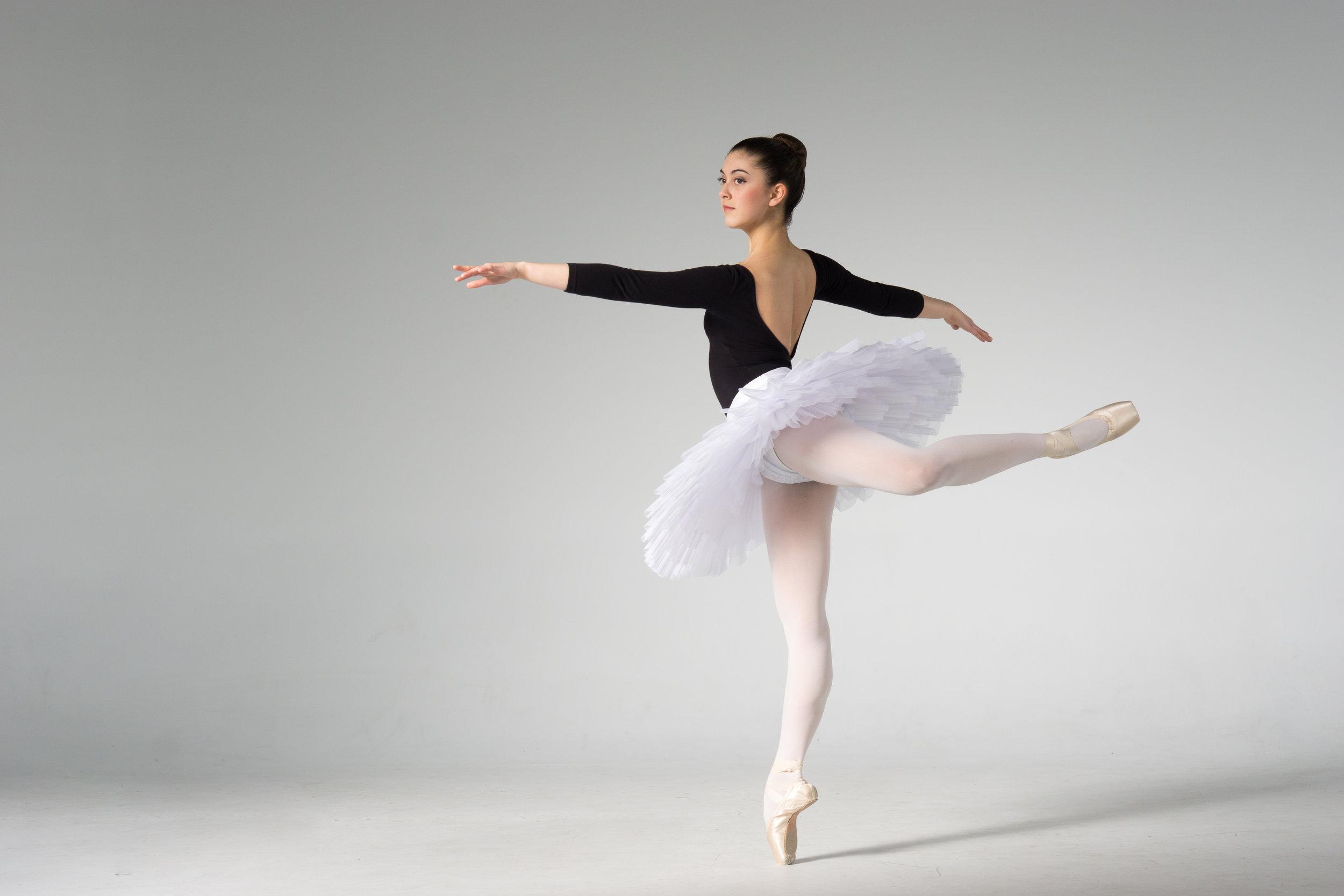 ballet dancer in tutu on pointe