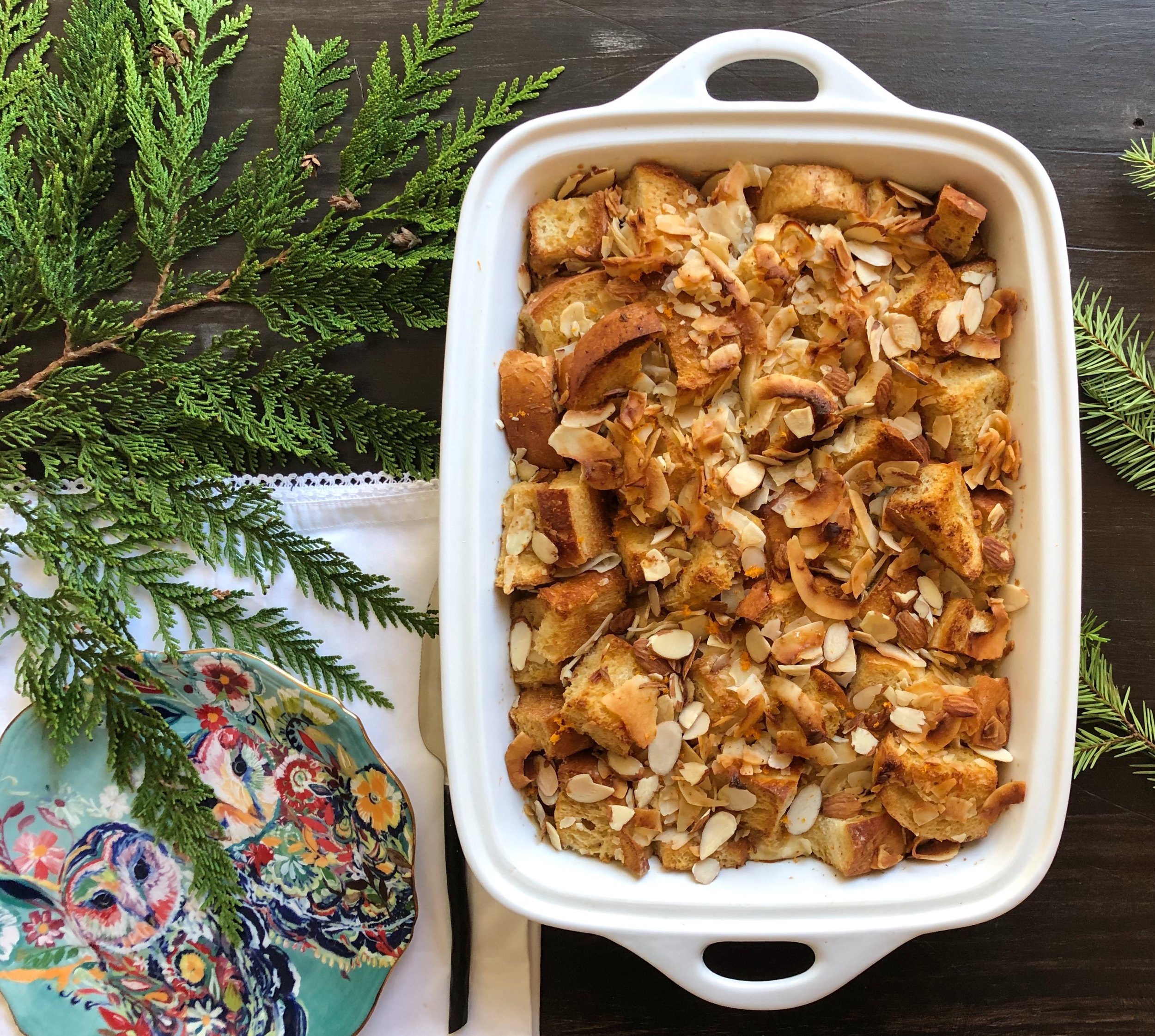 Florida Inspired Holiday Breakfast: Coconut and Orange Bread Pudding - Bread pudding for the holidays just feels…. right.I was inspired to infuse my Florida roots into this new recipe and used coconut milk and flakes, paired with fresh squeezed orange juice to create the most delicious bread pudding!