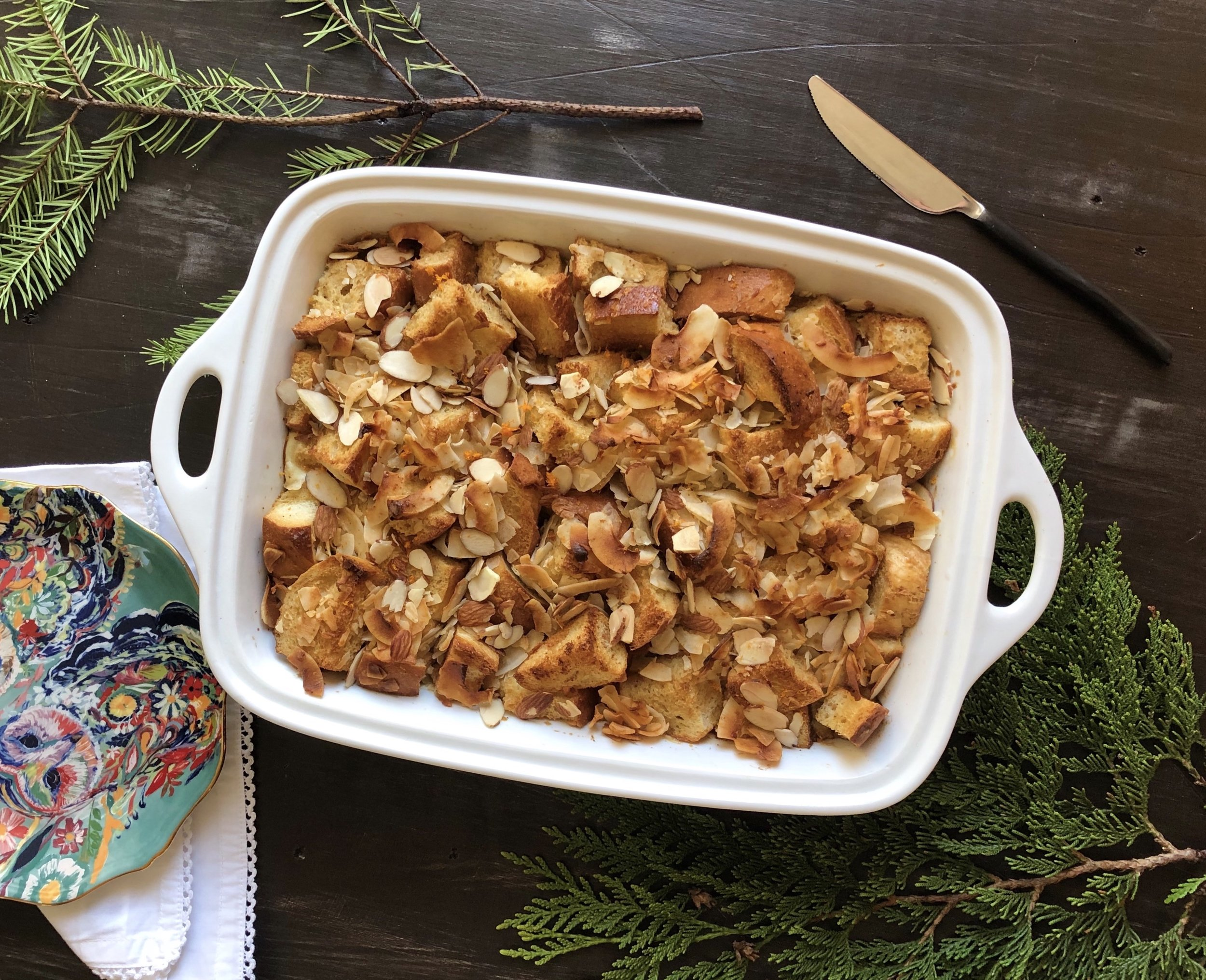 Coconut and Orange Bread Pudding -