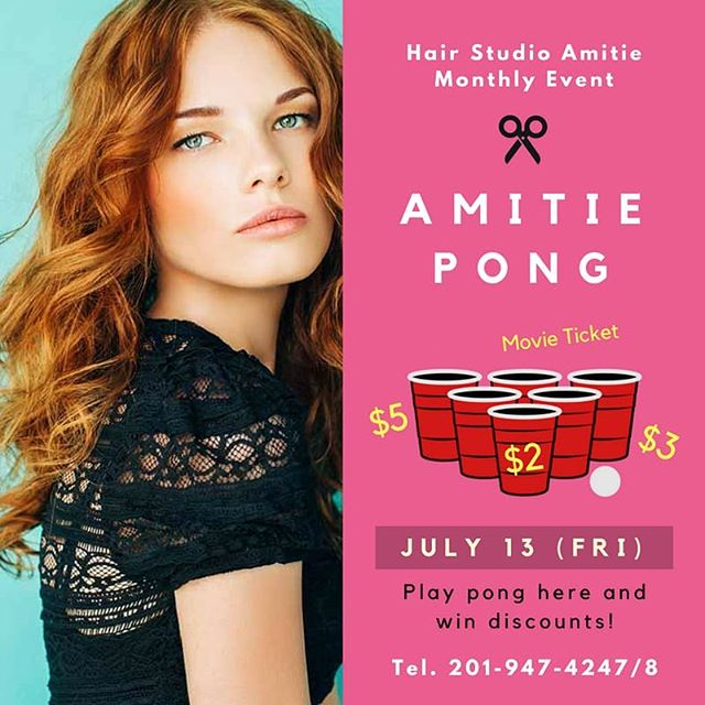 New Monthly Events💕  매월 금요일마다 아미띠에 pong game으로 머리도 하고 할인도 받으세요!😉 . . . Hair Studio Amitie 201 Broad Ave, Palisades Park, NJ 07650 Tel. 201-947-4247 #hairstyle #hair #amitiehair #newjersey #뉴저지미용실 #뉴저지 #event