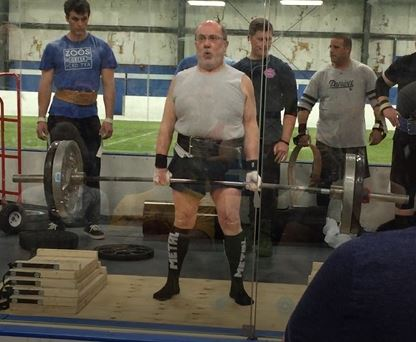 warming up for his first strongman comp