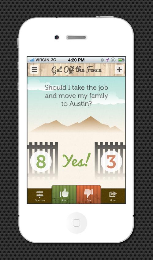 Decision app mockup