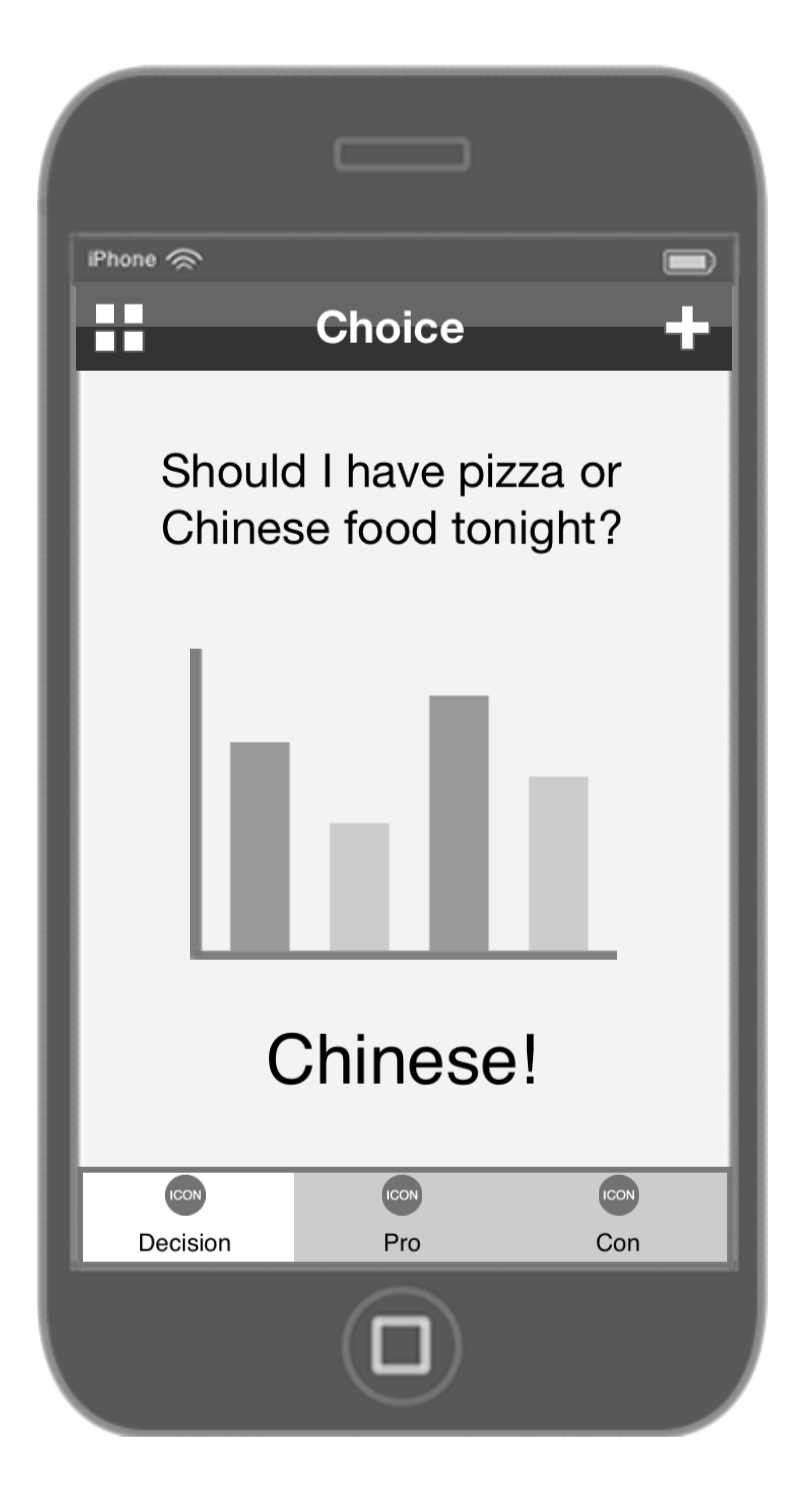 Decision app wireframes