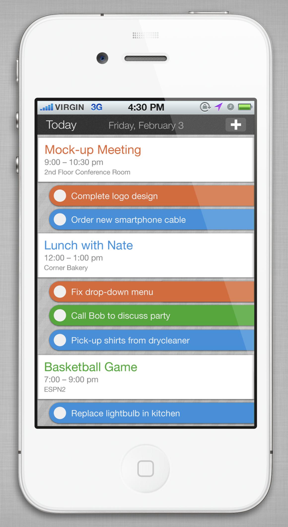 Task app mockup