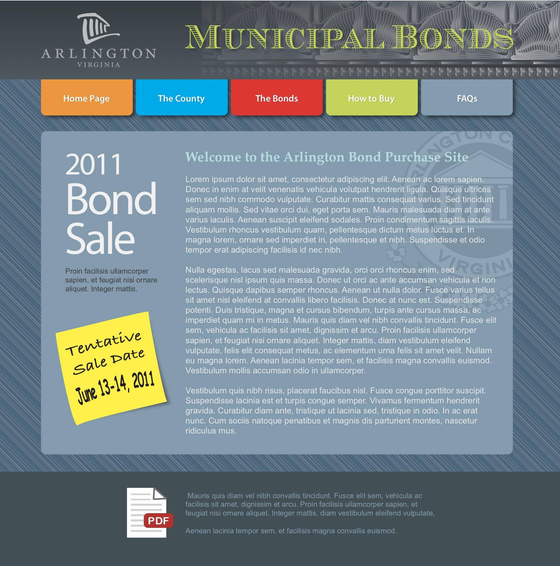 Bond sale mockup
