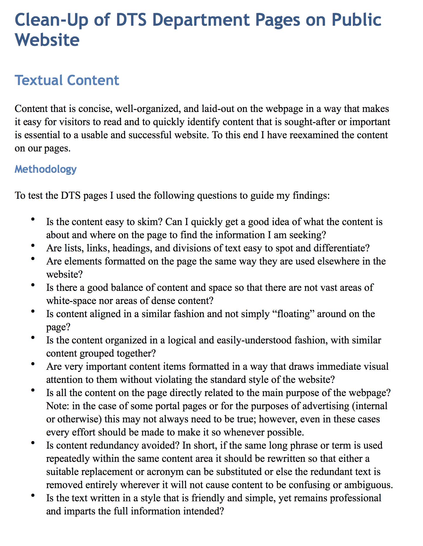 Content clean-up methodologies