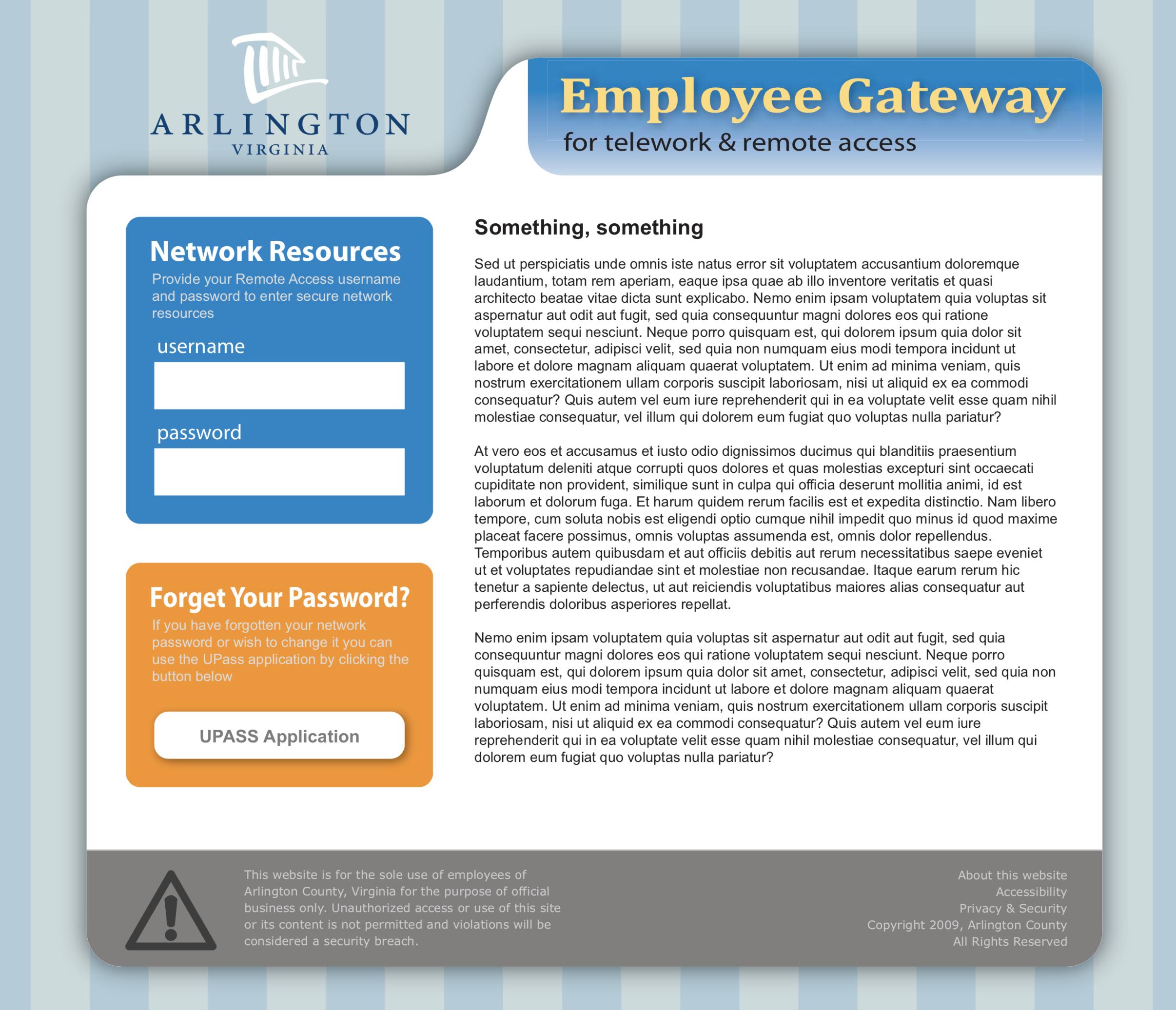 Remote employee portal mockup