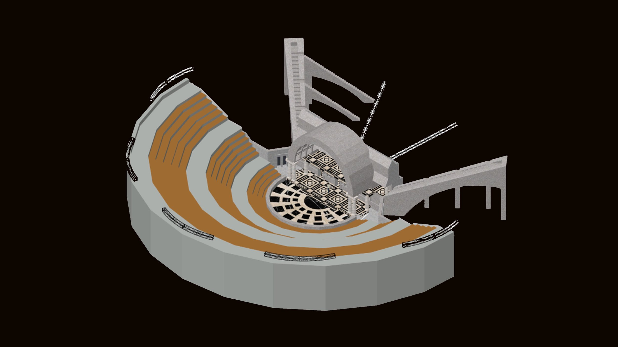 Isometric view of the set and lighting positions
