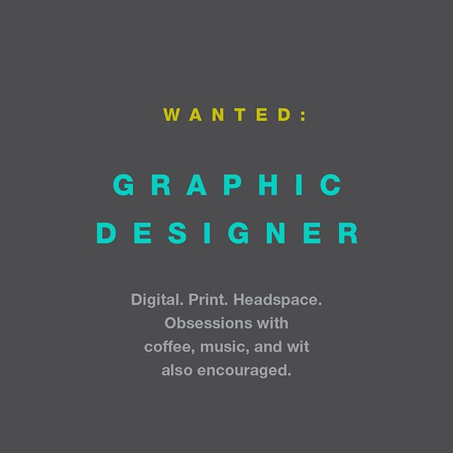 That's right: we're hiring! Are you a designer with 1-2 years experience and a penchant for deep dive design and precision delivery? We're a full service creative firm in the Fair Park neighborhood with a broad array of clients we love— digital, print, site, motion and more. Shoot us an email at moveme@atwelldesign.com with your resume and portfolio.  Our motto? #everythingbydesign