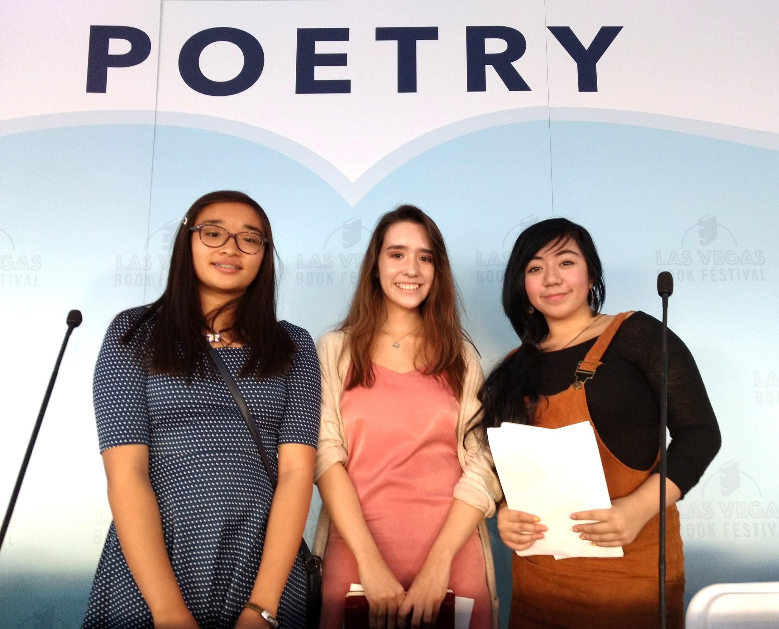 2018  Spark! Youth Poetry Competition  Winners:  Julianna Aira, Itzel Aguayo, Grace Azumbra