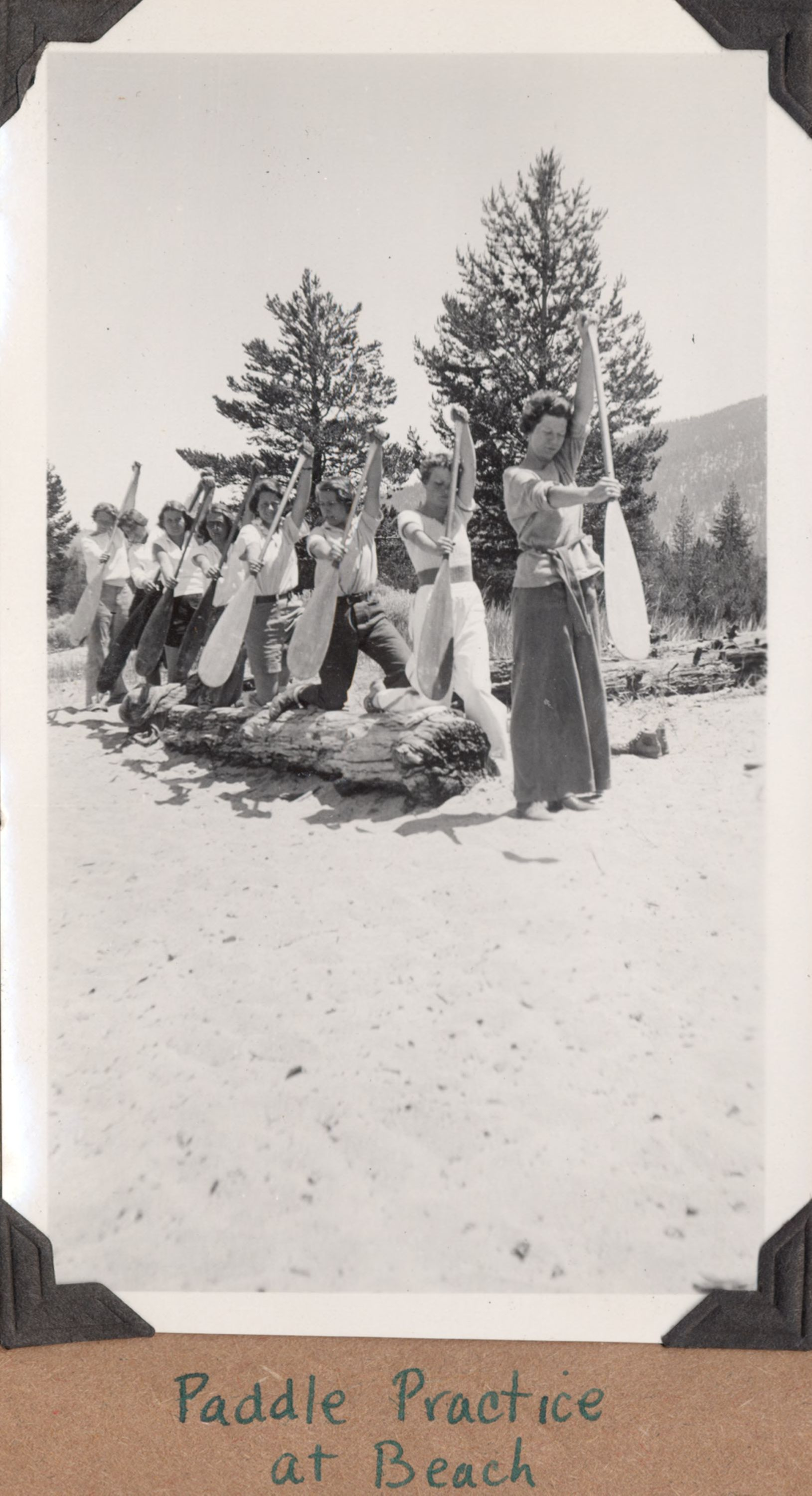 Camp Chonokis, Lake Tahoe, 1932, showing how outdoor training creates teamwork and builds moral character.   Image/ Special Collections Department, University of Nevada, Reno, Libraries