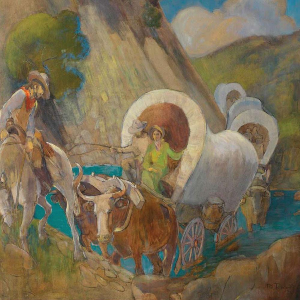 Minerva Teichert art, LDS artists paintings Mormon Pioneer wagons