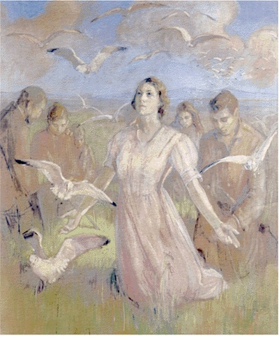 Miracle of the gulls Minerva Teichert Art