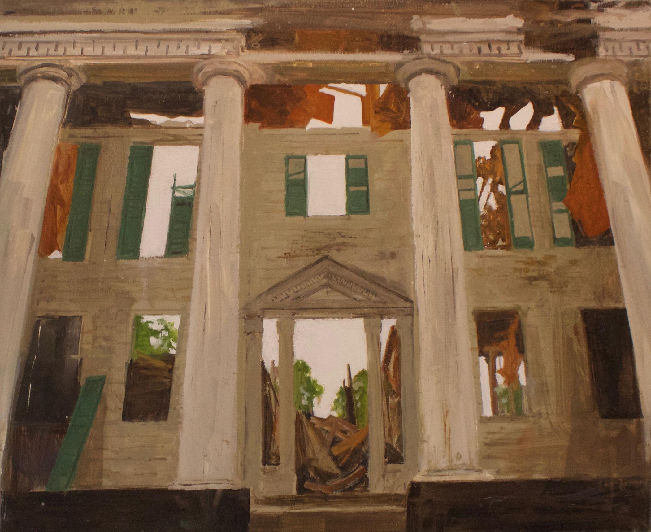 """""""Casulon Plantation,"""" 2017, Oil and Spray Paint on Canvas, 24""""x28"""""""