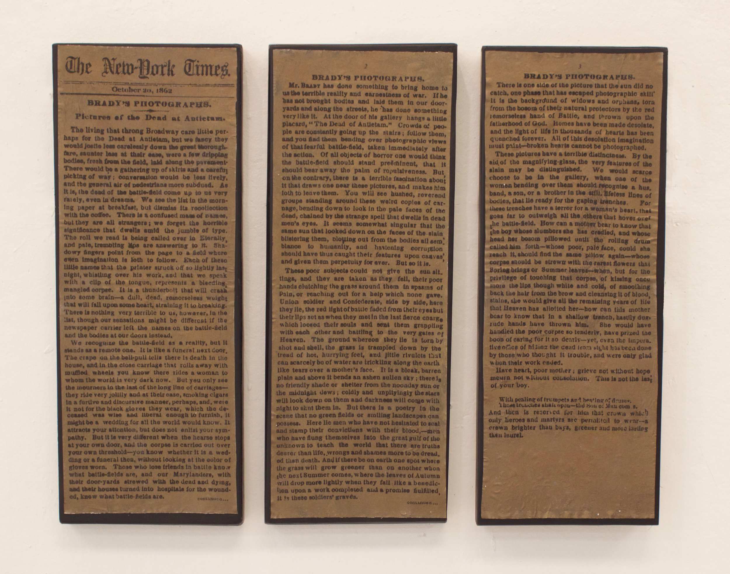 """""""The New York Times, October 20, 1862: Pictures of the Dead at Antietam,"""" 2017, Ink Transfer and Spray Paint on Panel, 9.25""""x 24"""" (each)"""