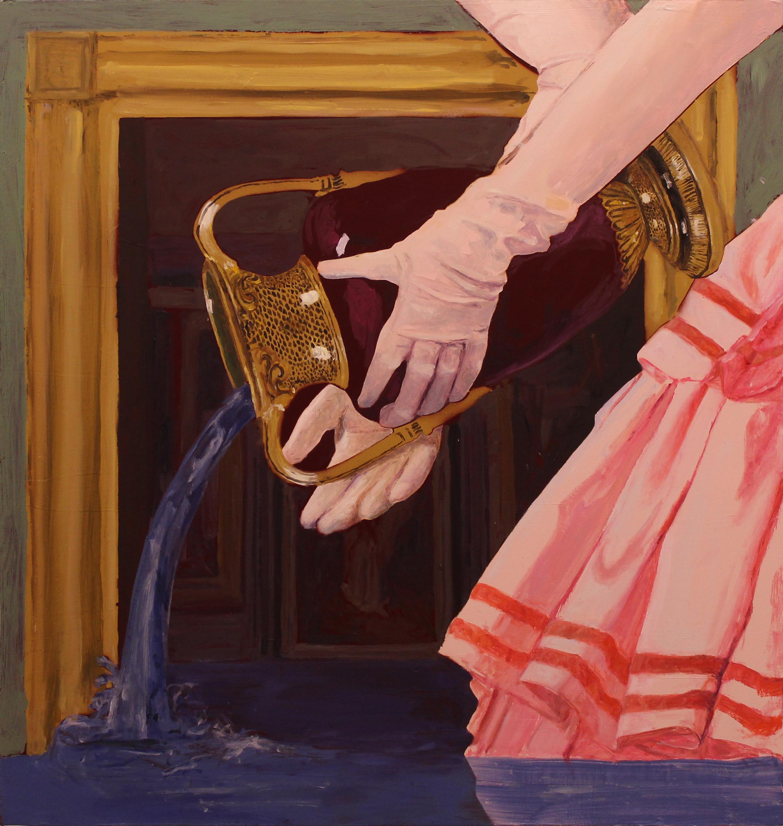 """Sabotage,"" Oil and Spray Paint on Panel, 2016, 36"" x 37.75"""