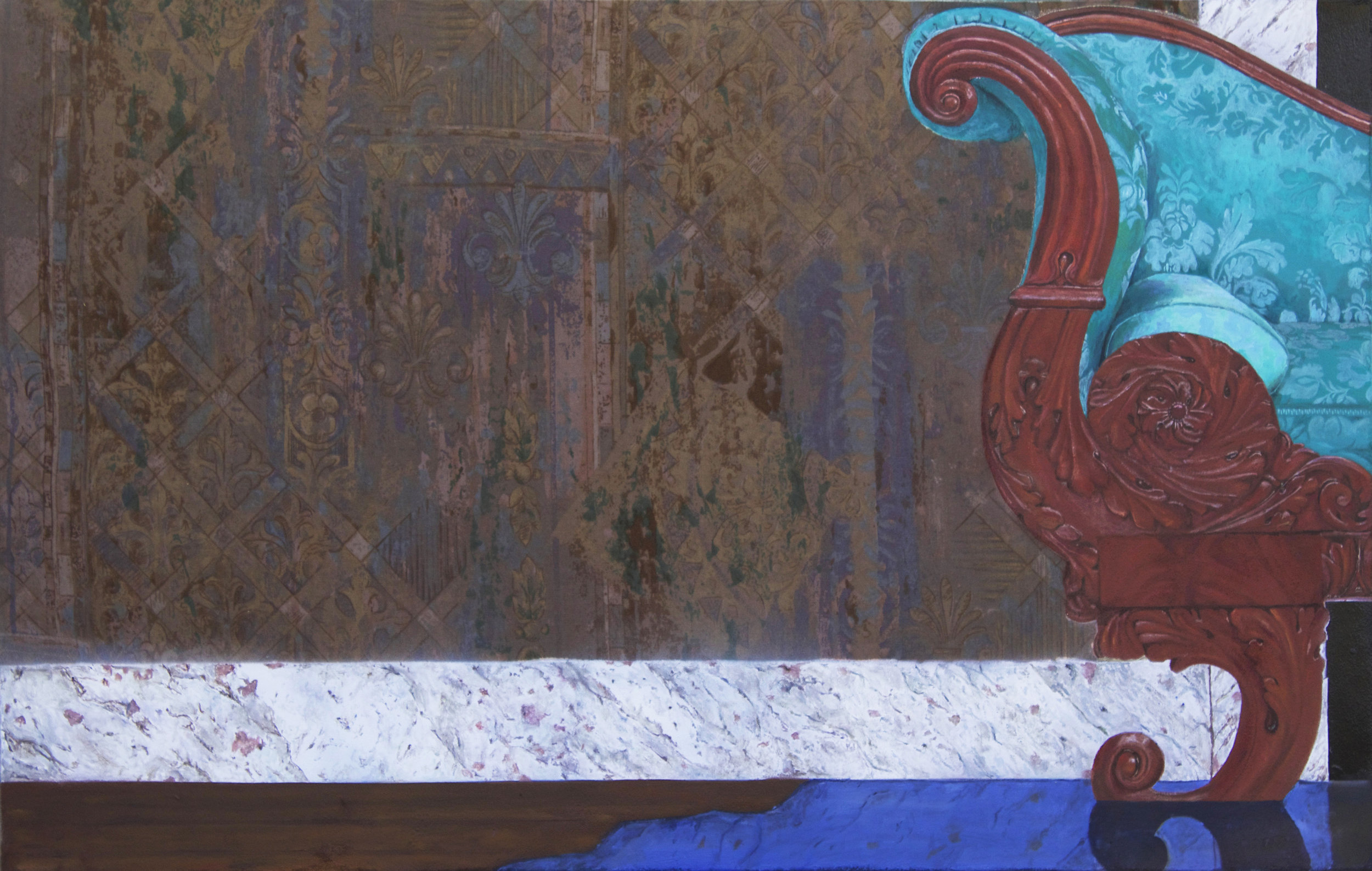 """""""Inheritance,"""" Oil and Spray Paint on Velvet Upholstery, 2016, 23"""" x 36"""""""