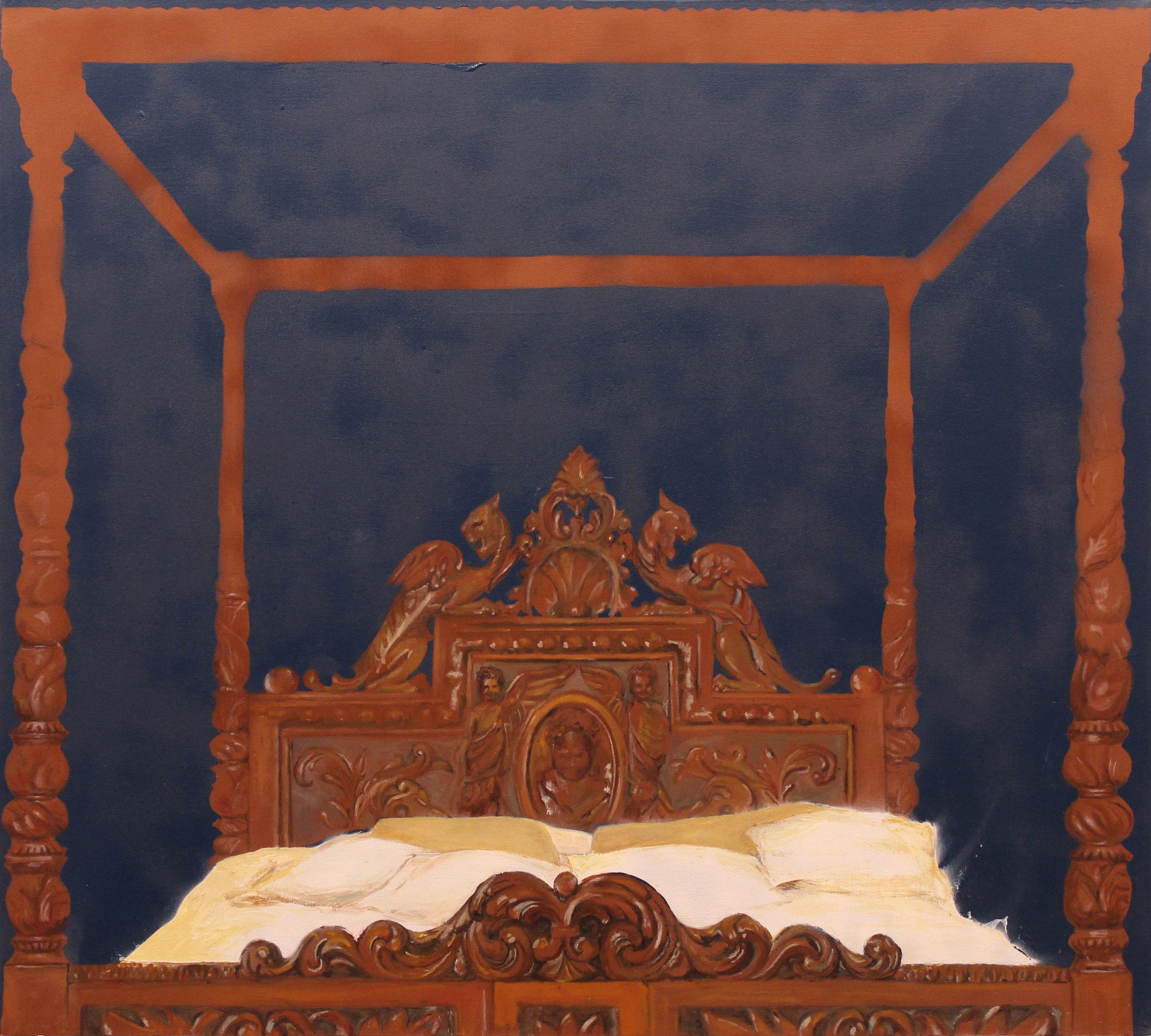 """Heirloom I,"" Oil and Spray Paint on Canvas, 2015, 48"" x 43.5"""