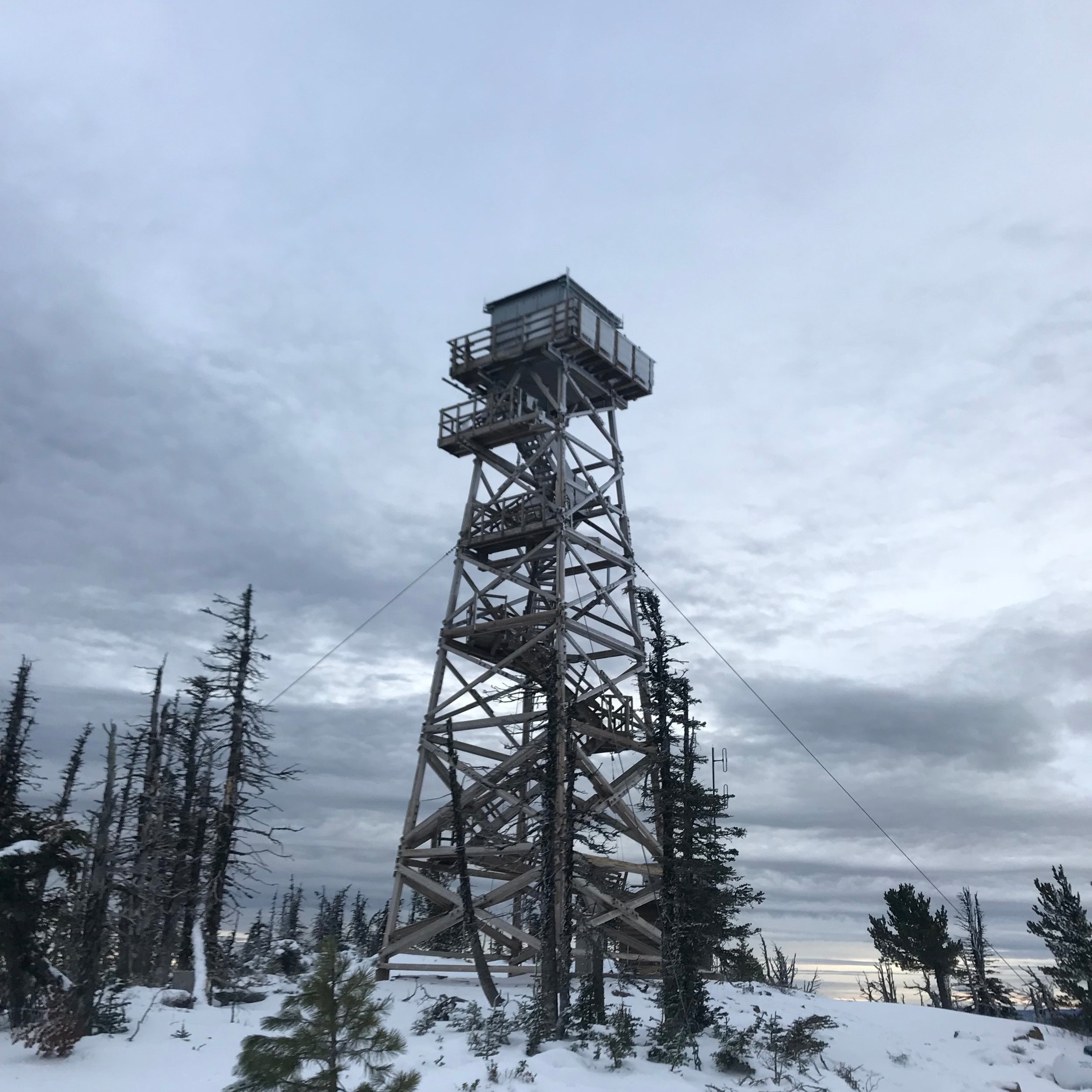 One of two old fire lookouts at the top.