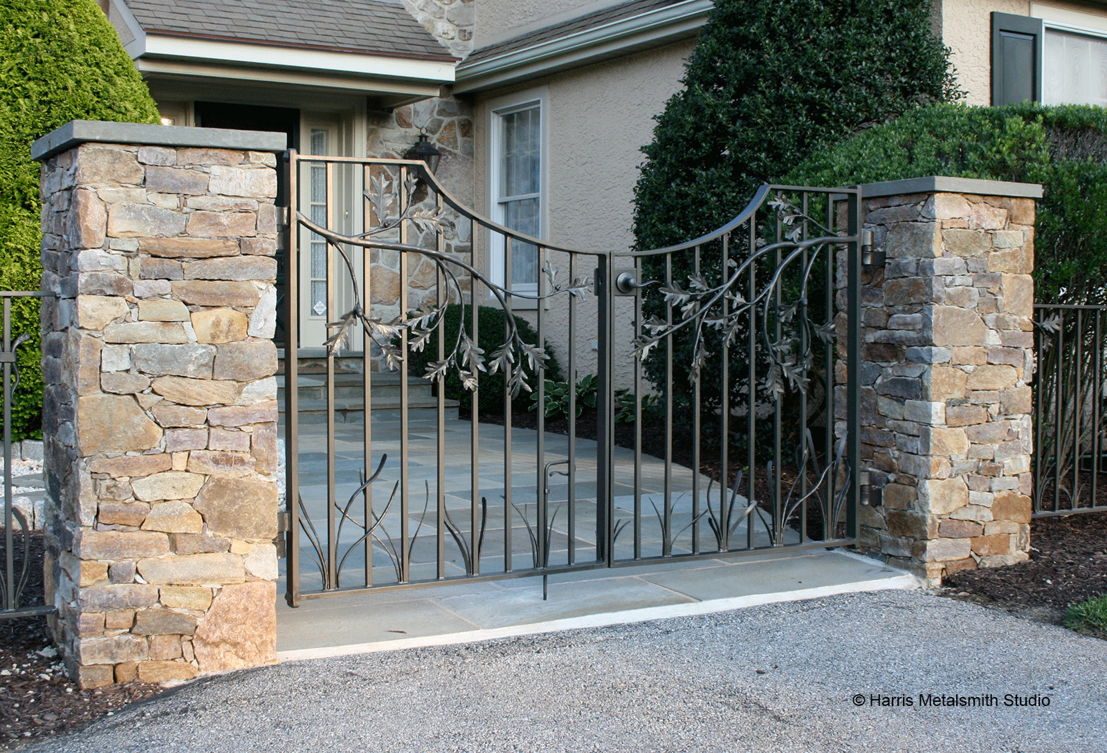 We envision the above gates installed similar to this.
