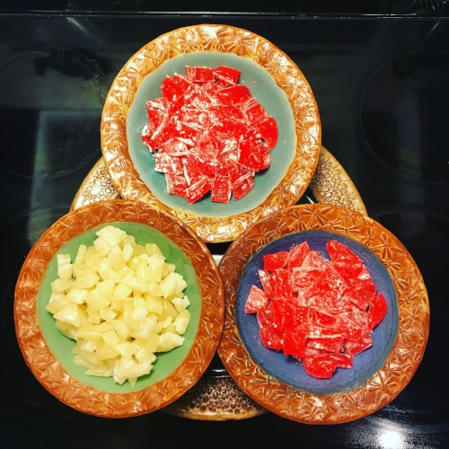 Orange at the top (which turned out more red than orange), peppermint at the bottom right, and butter mints at the bottom left.