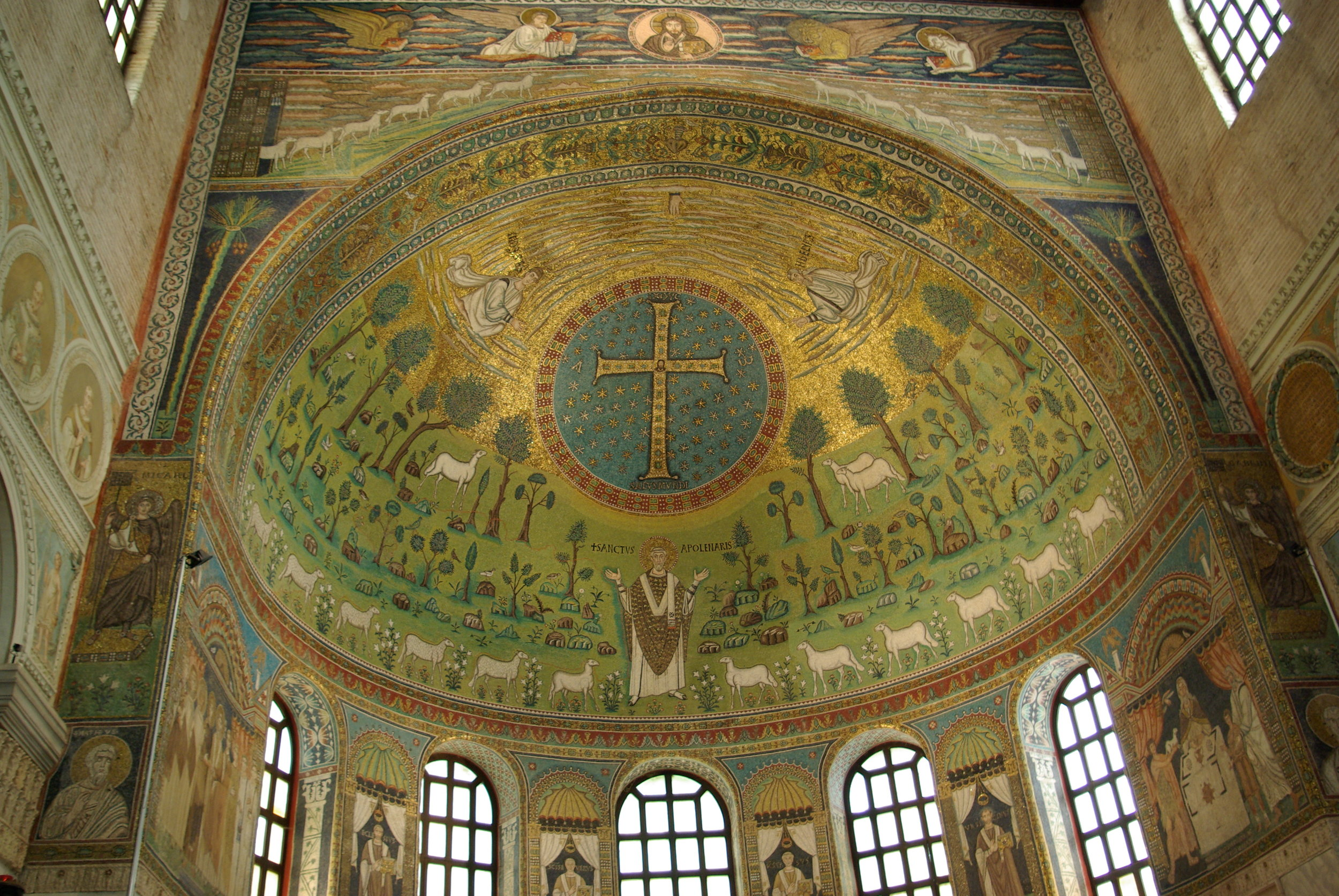 The apse of the Basilica of SantApollinare in Classe, near Ravenna, is decorated with a famous and imaginative depiction of the transfiguration. Image in the public domain, taken from Wikipedia.