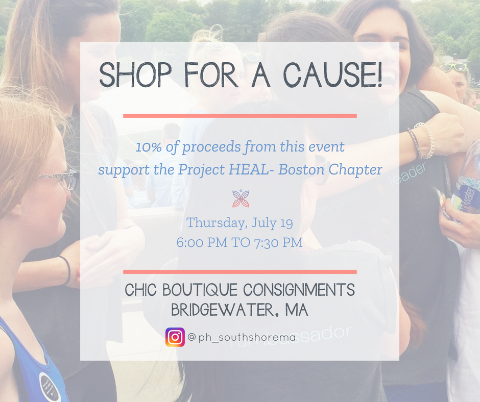 Join Project HEAL's Boston Chapter Ambassador, Brenna Briggs, along with members of the Chapter for a fantastic event on  Thursday, July 19 from 6:00 PM to 7:30 PM  featuring shopping, light refreshments, and an evening of inspiration. Those who can't join in person can still support Project HEAL-Boston Chapter by making an  online purchase  during the event time.