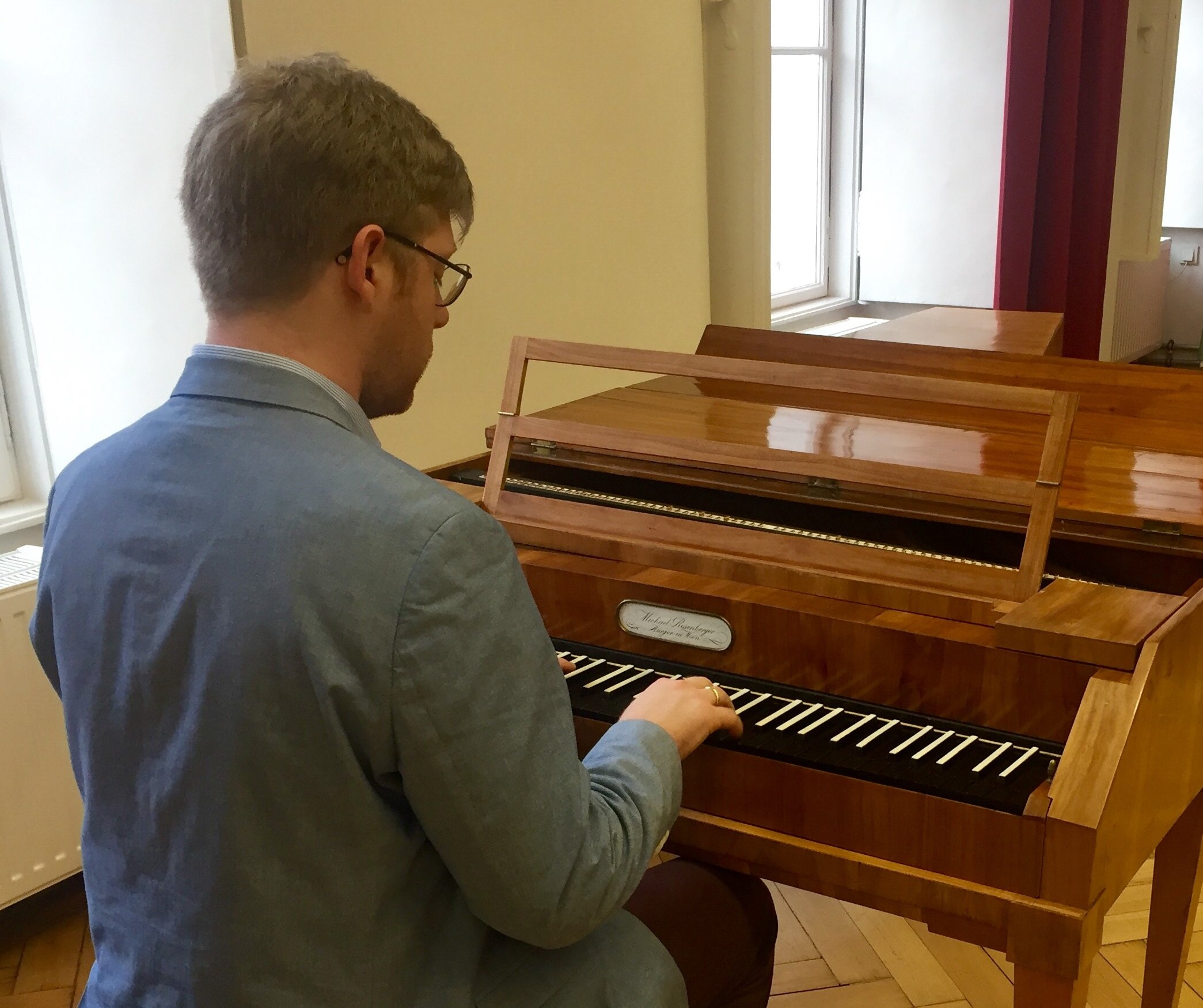 Daniel at an 1805 Michael Rosenberger fortepiano