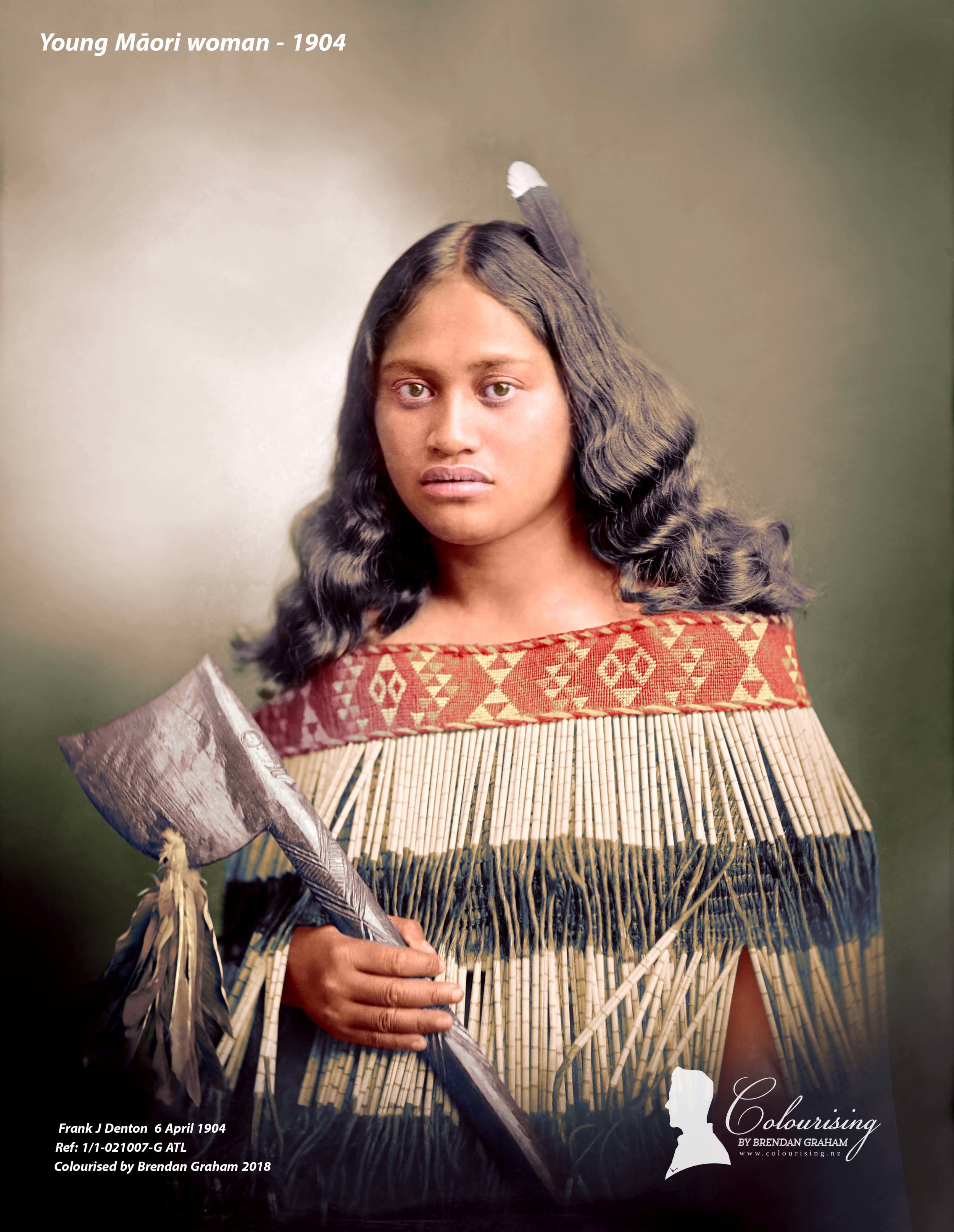 Beautiful Wahine - Colourised by Brendan Graham