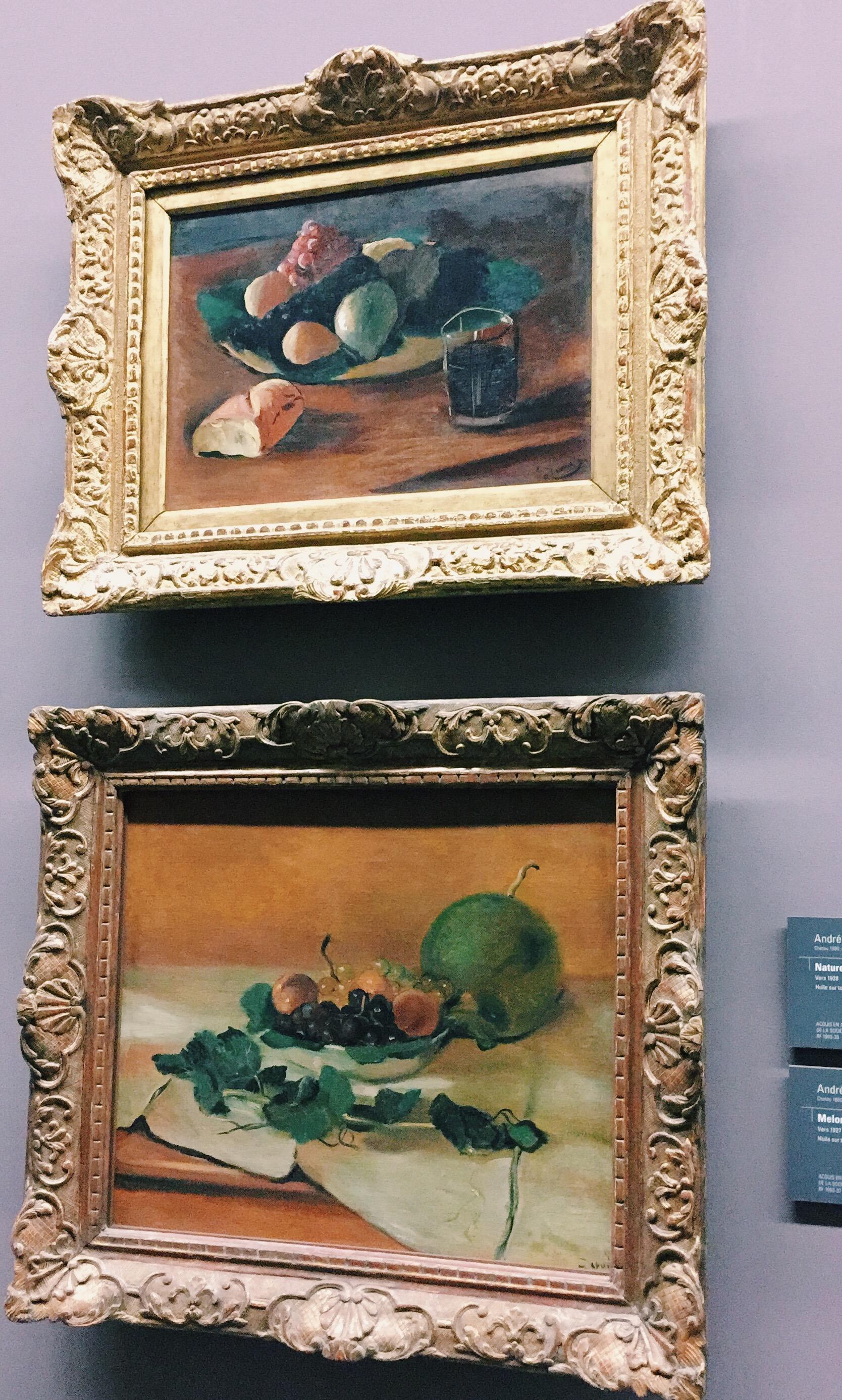 Top to bottom: André Derain,  Nature morte au verre de vin . André Derain,  Melon et fruits