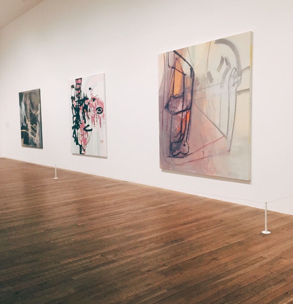 Left to right: Sigmar Polke,  Untitled (Square 2) . Charline von Heyl,  Jakealoo . Amy Sillman,  Clubfoot