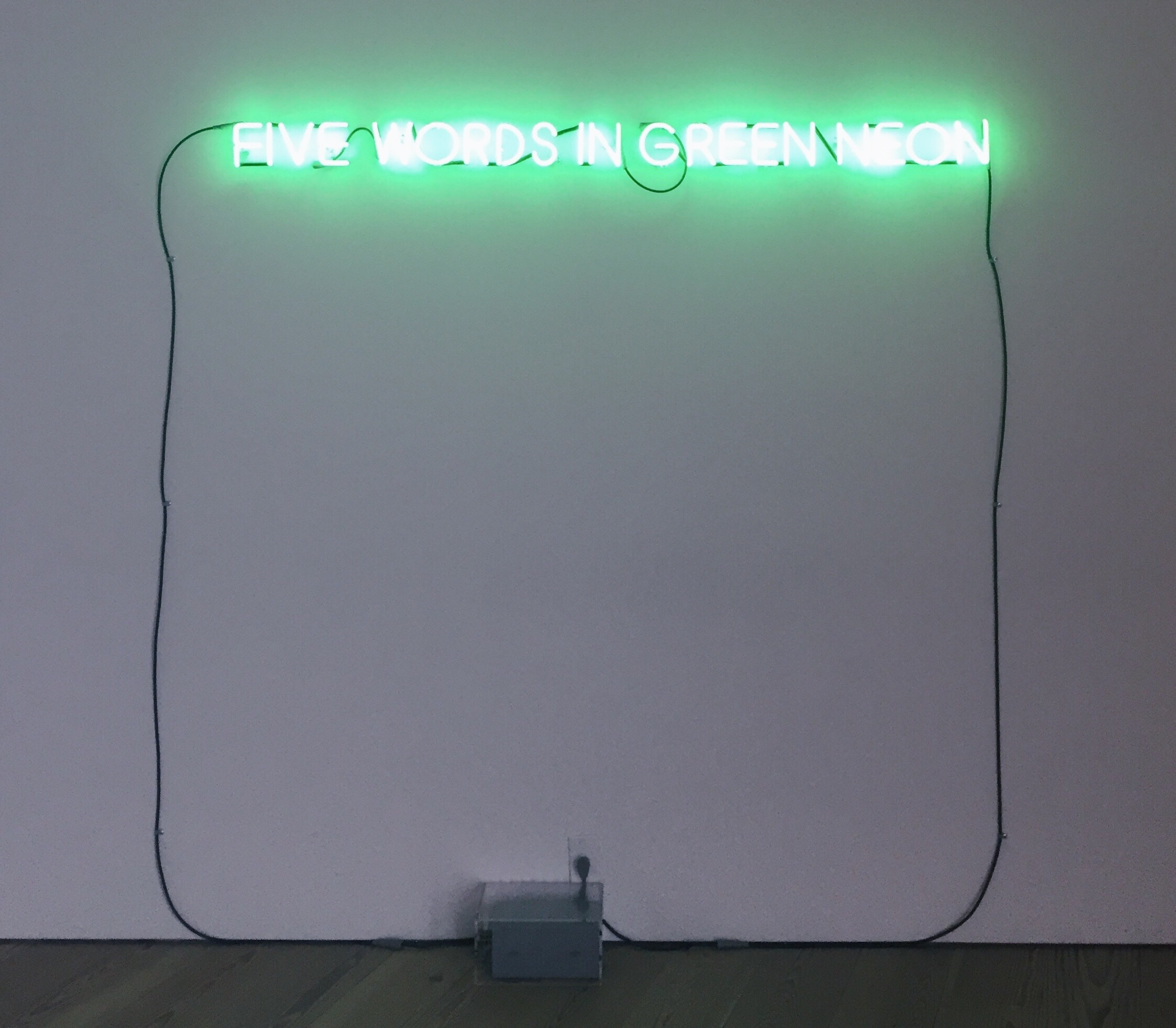 Joseph Kosuth,  Five Words in Green Neon