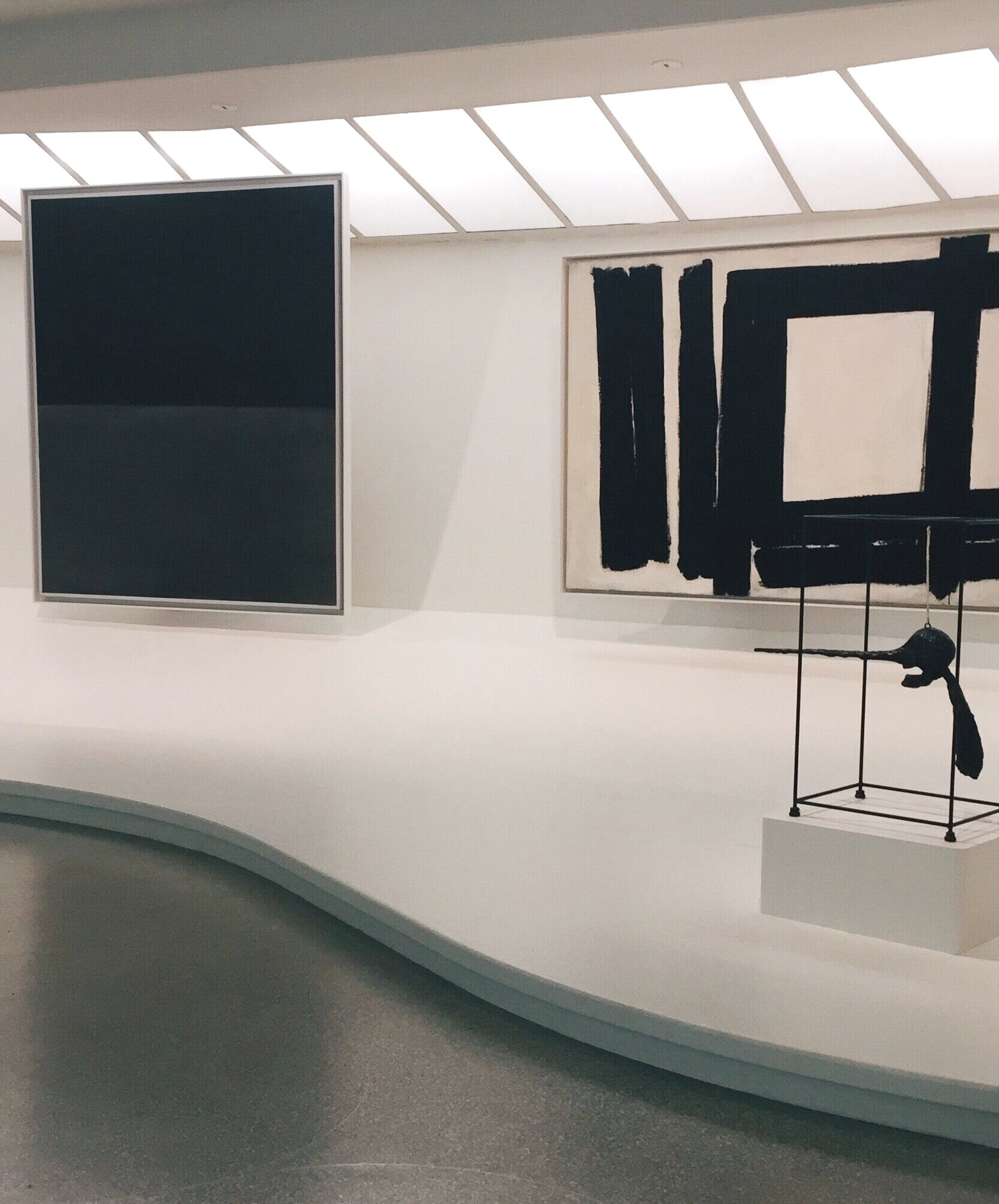 Left to right: Mark Rothko,  Untitled (Black on Grey) . Franz Kline,  Painting No 7 . Alberto Giacometti,  The Nose