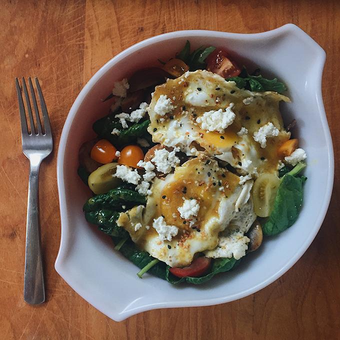 Breakfast Salad with CSA greens!
