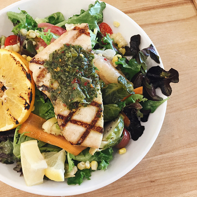 No sad salads! The Lad's Salad is loaded with in-season, fresh produce and wild-caught fish that changes daily.