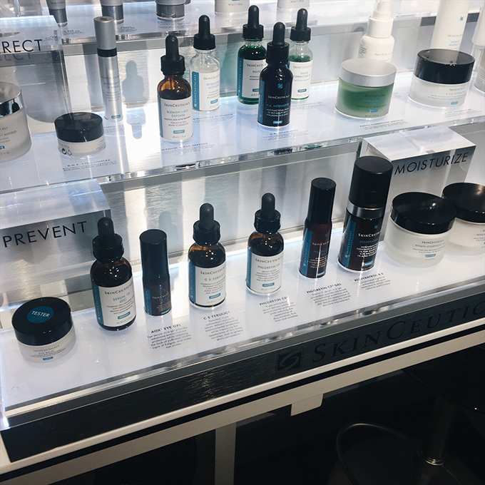 The SkinCeuticals counter at Grand Pearl Spa! I used to fill our bathroom cabinets with these goodies when I worked at Plastic Surgery Associates!