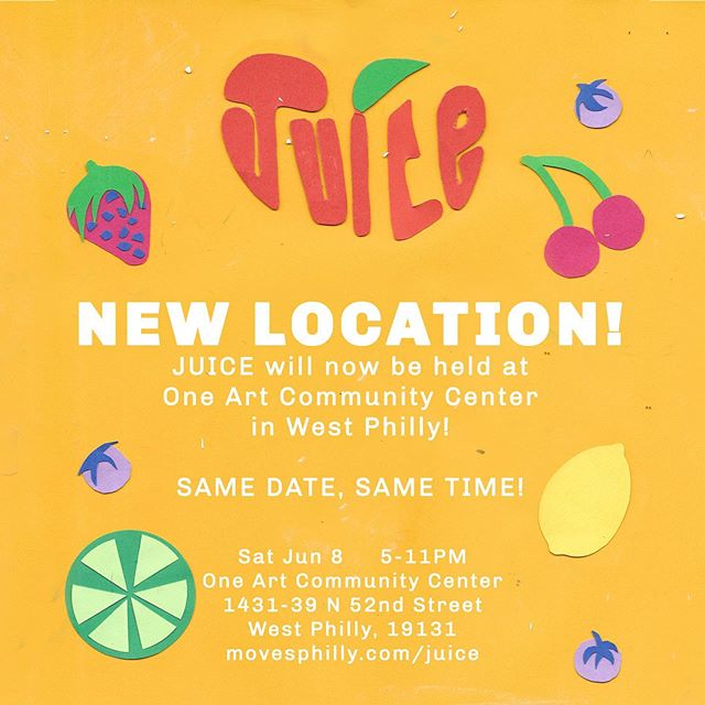 We'd like to take a break from our regular scheduled programmibg to inform you that our sibling brand, JUICE (@juice.philly), is changing its location for Saturday's festival to One Art (@oneartcommunitycenter)! Same date, same time, and same dope vibes! * * * If you got a promo code for discount admission at FADE, use it to get your  tickets to JUICE, because the cost is higher at the gate! #JUICEphilly #phillypride #lgbtphilly #pridefestival