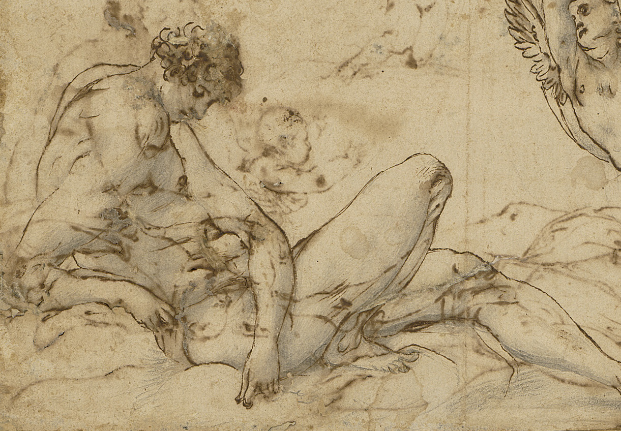 Jacopo Pontormo (1494–1557),  Mercury and Astraea  (Detail), ca. 1537. Pen and brown ink on buff paper with black chalk, 240 x 150 mm. Mount 190 x 270 mm.