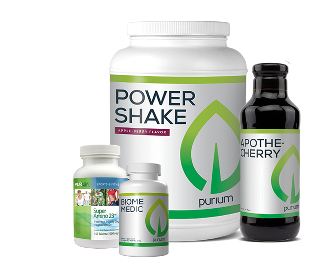 Pack contains: Power Shake Apple Berry, Super Amino 23, Apothe-Cherry, and Biome Medic.