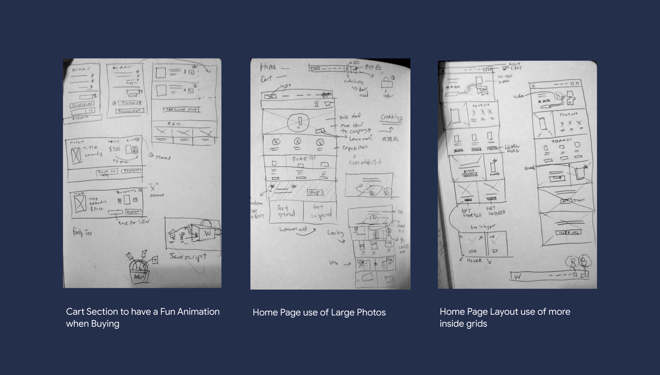 Brainstorming sketches for home page, cart. and overall feel