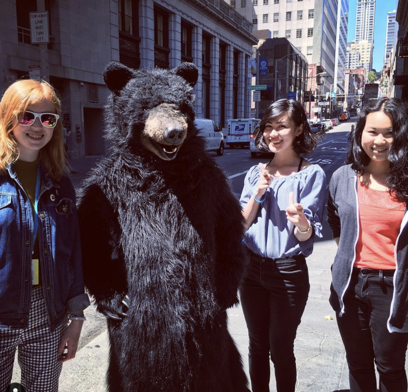 Interns with Codey the Bear