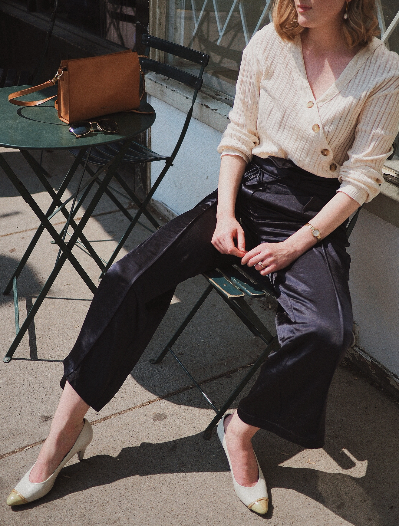The Asymmetric Pants by SKYE. Shirt: Balzac Paris. Shoes: vintage. Bag: Findlay Co.
