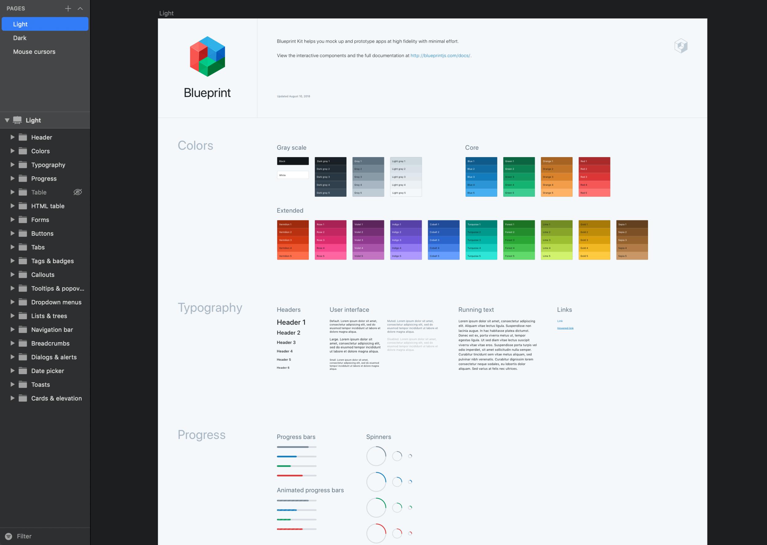 Blueprint.js' current Sketch UI kit, last updated August 2018.