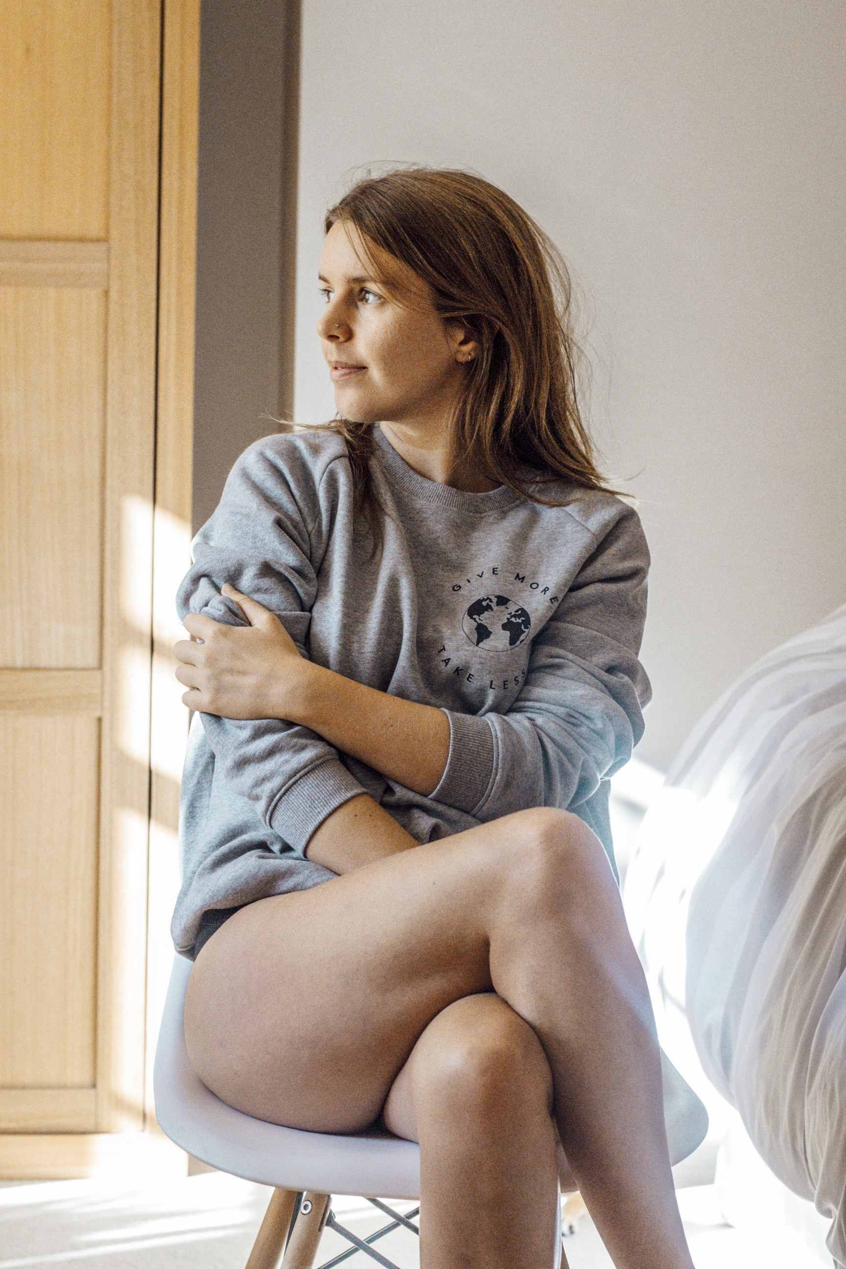 Give More Sweatshirt - Part of the brand new Blue Ollis collection.We use certified organic fabrics and renewable energy in our supply chain. Order yours before 3pm for fast delivery.