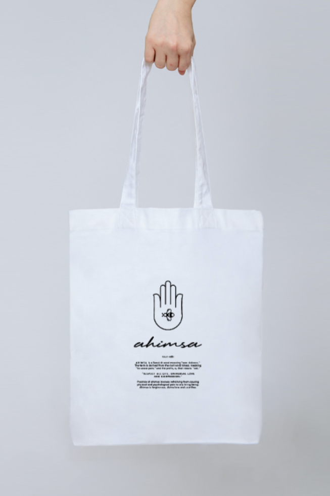 Ahimsa Tote - Part of the brand new Blue Ollis collection.We use certified organic fabrics and renewable energy in our supply chain. Order yours before 3pm for fast delivery.