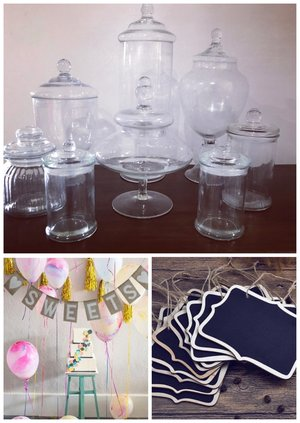 Lolly buffet jars: $40 - includes mini chalkboards and sweets bunting